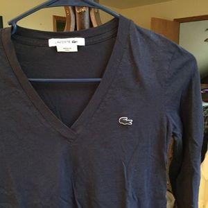 Lacoste V-Neck Long Sleeve T-Shirt XXS Peru Blue